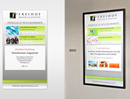 Neues Info-Display im Freihof Gossau